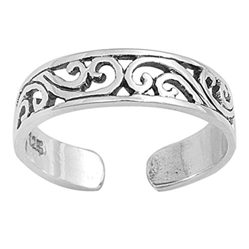 Silvernshine Jewels Women's 14K White Gold Fn .925 Sterling Silver Filigree Adjustable Toe (14k Silver Toe Ring)
