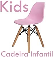Cadeira Infantil Charles Eames New Wood - Kids - Cor Rosa Claro