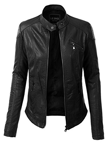 Faux Leather Zip Up Biker jacket with Pockets