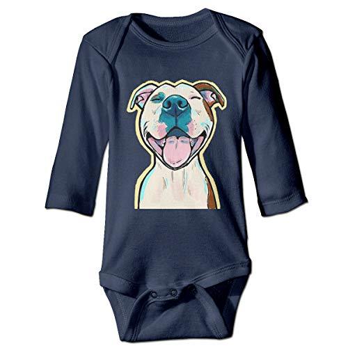(KEIOO Unisex Baby Onesies Bodysuits Cartoon Pit Bull Smile Organic Cotton Short & Long Sleeve One-Pieces Navy)