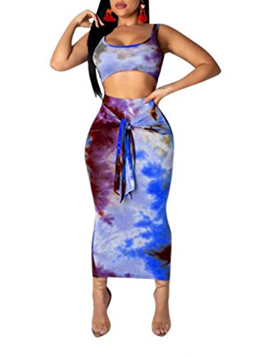 Holiday 2 Piece Outfit - Remelon Womens Sexy Sleeveless Tie Dye Print Tank Crop Top Bodycon Tie Skirts Set 2 Piece Midi Dress Outfits Blue M