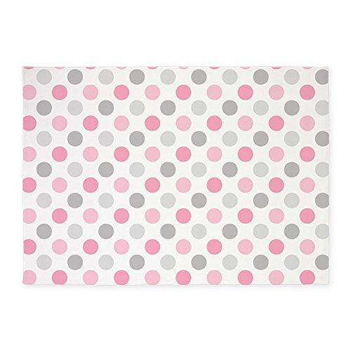 Polka Dots Pink Rug (CafePress - Pink Gray Polka Dots - Decorative Area Rug, 5'x7' Throw Rug)