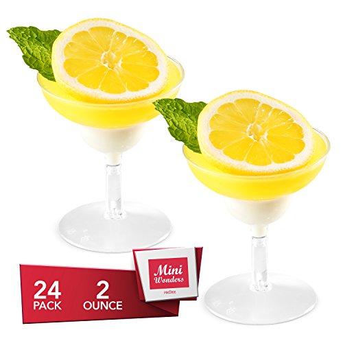 MINI WONDERS Heavy Duty Plastic Clear Single Serve Margarita Cup 2 oz Cocktail Dessert Cups 24 Count Toast Shot Shooter Glasses Disposable Reusable Party Bowls -