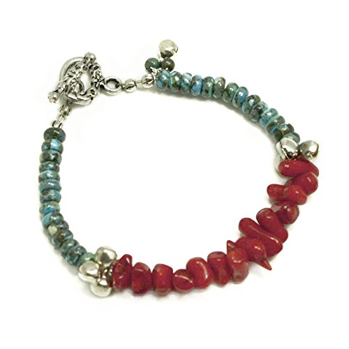 Coral Bracelet Chip Red (002 Ny6design Turquoise & Coral Bracelet w Silver Plated Toggle 8
