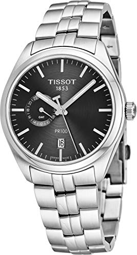 Tissot T101.452.11.061.00 Men's Watch PR 100 Gent Dualtime Silver 39mm Stainless Steel