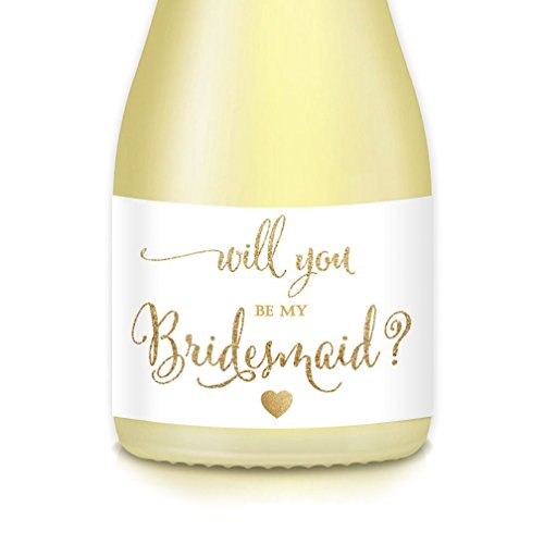 Will You Be My? Bride Proposal to Bridesmaid, Maid, Matron of Honor, Set of 10 Elegant White Gold Mini Champagne Bottle Labels 3.5