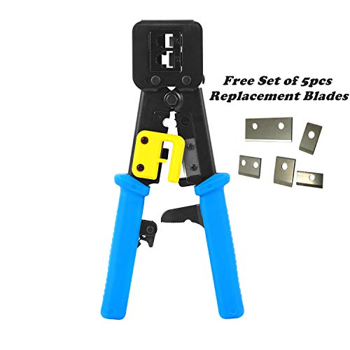 Hand Crimp Tool - RJ45 Crimp Tool Pass Through Crimper Ethernet Cable Connector Crimping Tool Ratcheting Hand Tools