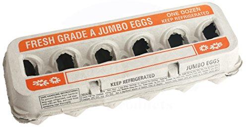 Printed Natural Pulp Jumbo Egg Cartons (Holds 1 Dozen Eggs) (15 Cartons)