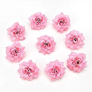 30pcs/lot 4cm Handmade Mini Artificial Silk Rose Flowers Heads DIY Scrapbooking Flower Kiss Ball For Wedding Decorative (pink) 49