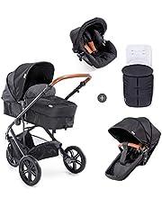 Hauck Pacific 3 Shop N Drive, 3-hjuligt, lätt barnvagnspaket upp till 25kg med bilbarnstol för grupp 0, liggdel som kan bli vändbar sittdel från födseln, åkpåse och stora hjul – svart