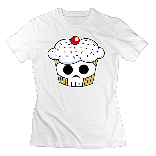WuLion Skull Cupcaks Women's Comfortable Short Sleeve T Shirt White XXL
