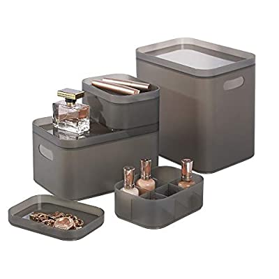 mDesign Modern Compact Plastic Storage Bins with Lids - Modular and Stackable - Nesting Organizing Containers for Home, Bathroom, Bedroom, Kitchen, Office