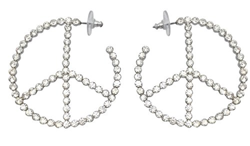 Peace Sign Clear Large Stone Rhinestone Formal Silver Tone Hoop Earrings