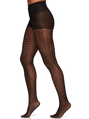 Berkshire Women's Trend Two Tone Sheer Dots Control Top Pantyhose, Black/White, 3-4