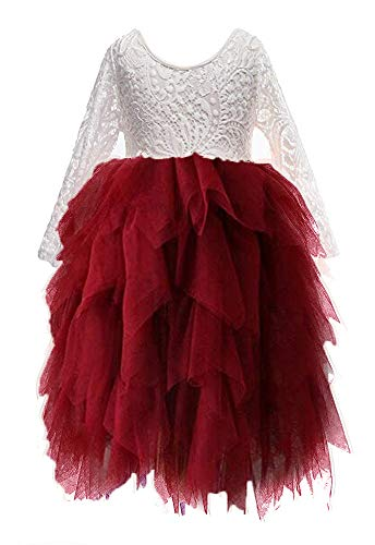 Topmaker Backless A-line Lace Back Flower Girl Dress (7-8Y, Non-Beaded-Sleeve Wine Red) ()