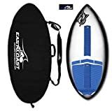 """East Coast Skimboards Deluxe Skimboard Package - Zap Wedge Medium 45"""" - Black Halo - Rider Weight Limit 140 lbs (Blue - Zap Traction/Black - Bag)"""