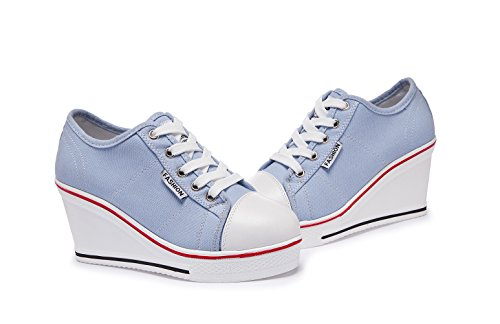 Sneakers Tennis Baskets Femme Mode Zetiy Casuel de Sport Chaussures Compensées Toile Montante 7IBn6w