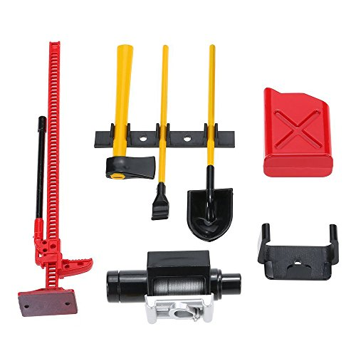 ShareGoo 6PCS RC Decoration Accessories Tool Set Kit for 1:10 Scale RC Rock Crawler 4WD D90 D110 SCX10 Wraith,Include Gas Can, Winch, Jack, Shovel, Axe, Pry Bar,Red