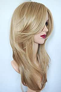 Golden Blonde Layered Shoulder Length Synthetic Hair Fiber Highlight Multicolor for Women (16/27)