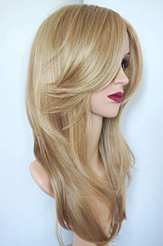 Golden Blonde Layered Shoulder Length Synthetic Hair Fiber Highlight Multicolor for Women (16/27) (Medium Length Layered Hair With Side Bangs)