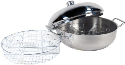 ExcelSteel 4-1/2-Quart Stainless Cook All Pan with Frying Basket and Steamer Wire Plate Heavy Encapsulated Base