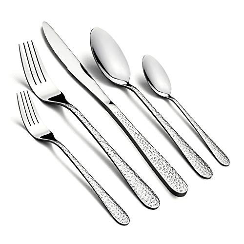 60-Piece Silverware Set, HaWare Hammered Stainless Steel Flatware Cutlery Set for Home/Hotel/Restaurant, Service for 12, Mirror Polished, Classic Design, Dishwasher Safe