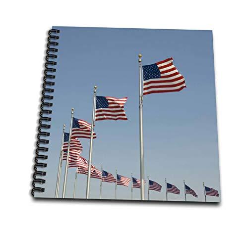 3dRose db_143508_3 用途 ワシントンDC、アメリカ国旗、ワシントン・モニュメント Us09 Lfo0155 Lee Foster ミニノートパッド 4 x 4インチ