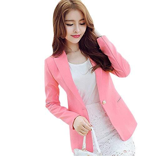 Tailleur Button Autunno Bavero Donna Giovane Casuale Donne Giacca Lunga Slim Moda Pink Manica Puro Da Fit Ovest Outerwear Giaccone Colore Battercake FqTtwnYzSY