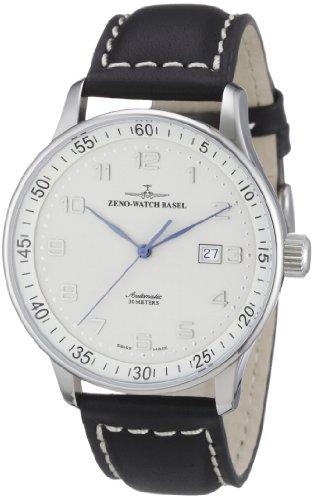 Zeno Automatic Silver Dial Black Leather Strap Mens Watch P554-E2