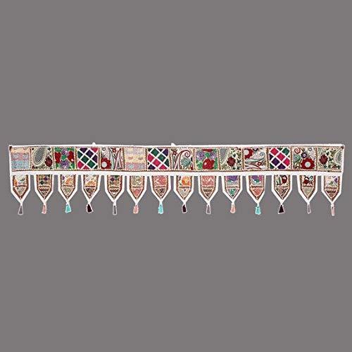 (Christmas Decorative- ''80'' Cotton Ethnic Wall Hanging Wall Art Vintage Patchwork Door Valances Window Valances Hand Embroidered Patchwork Toran Boho Bohemian Decor Living Room Decor (White))