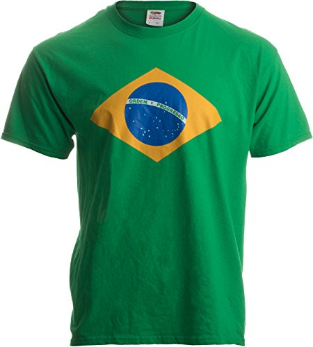 BRAZIL NATIONAL FLAG Adult Unisex T-shirt / Bandeira do Brasil, Brazilian,Green,Large