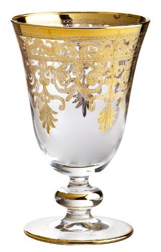 (Rose's Glassware Fine Italian 8 Ounce Wine Glasses 14 Karat Gold Accented (1) )