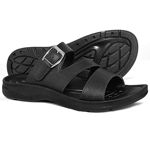 AEROTHOTIC Orthotic Comfort Slip On Sandals and Flip Flops with Arch Support for Comfortable Walk (US Women 6, Slit Black)