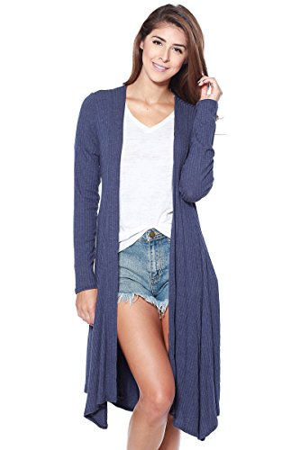 A+D Womens Long Ribbed Knit Cardigan with Waist Tie (Navy, Medium)