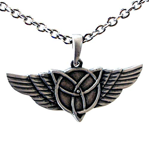 OhDeal4U Celtic Winged Triquetra Pagan Silver Pewter Pendant Charm Amulet w Necklace (Stainless Steel Chain)