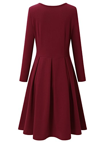 A Women's Sleeve Red Long and Line Casual Wine Cotton Flare Fit Winter Dress Bulotus zd0wqZz