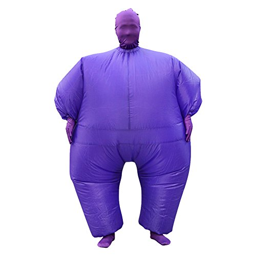 Inflatable Full Body Jumpsuit Cosplay Costume Halloween Funny Fancy Dress Blow Up Party Toy (Purple)]()