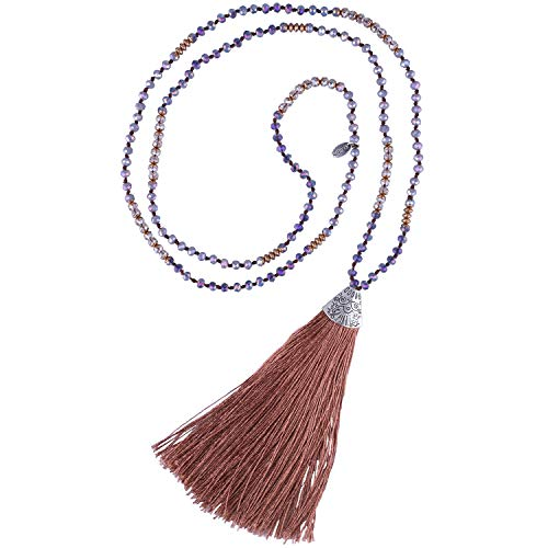 (KELITCH Crystal Long Beaded Necklace Layering Fish Mouth Tassel Pendant Strand Necklace (Coffee 83J))