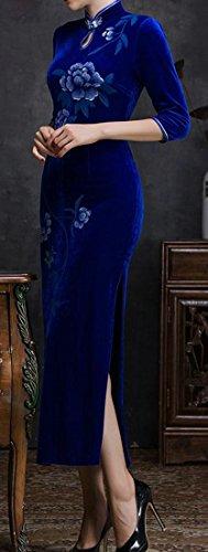 Abito Stampa Blu Womens Guaina Lungo Cruiize Cheongsam Tradizionale Velluto Qipao wxOU1OqX