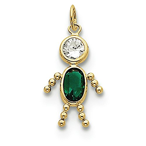 10K Yellow Gold May Boy Synthetic Birthstone Charm Pendant