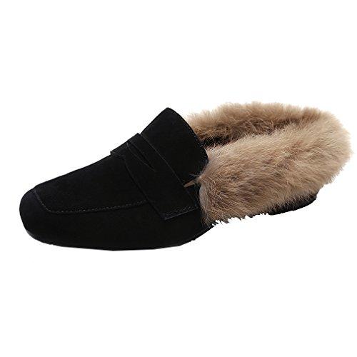 Enmayer Dames Zwart Retro Mode Loafers Ronde Neus Op Platte Buiten Slippers Met Harige En Gesp Zwart (koe Split)