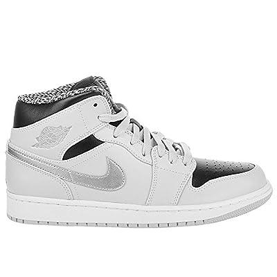 Nike Air Jordan 1 MID Sneaker Light Gray/Black/Silver/White, EU Shoe Size:EUR 45.5, Color:Light Grey