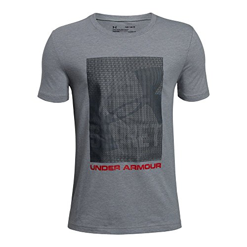 Under Armour Boys' Lenticular Best Kept T-Shirt, Steel Light Heather (035)/Red, Youth X-Large