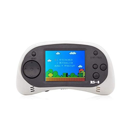 """E-MODS GAMING USB Charging Retro Game Console, Portable 260 Built-in Handheld Game, 2.5"""" LCD Screen, Good Gift for Children(White)"""