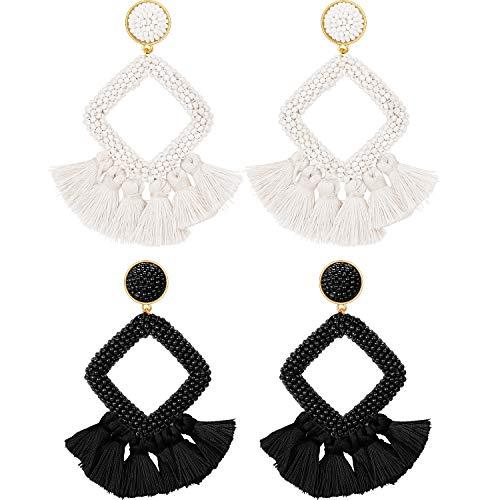 2 Pairs Statement Drop Earrings Bohemian Beaded Round Handmade Tassel Earrings for Women Girls Jewelry (Style Set 9)