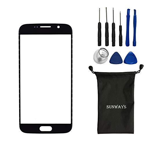 Sunways Front Outer Screen Glass Lens Replacement for Samsung Galaxy S6 G9200 G920A 【Not for S6 Active】 (Black)