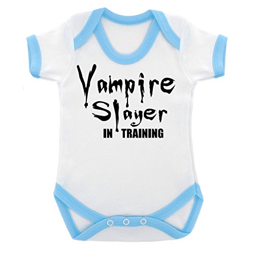 [Funny Vampire Slayer in Training Baby Bodysuit with Blue Trim and Black Print] (Vampire Suit)