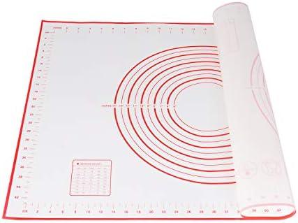 Yizhet Backunterlage/Backmatte Silikon Groß 70x50cm Silikonmatte Backfolie Arbeitsmatte mit Messung für Fondant Gebäck Pizza Matte, Teigmatte Wiederverwendbar Antihaft