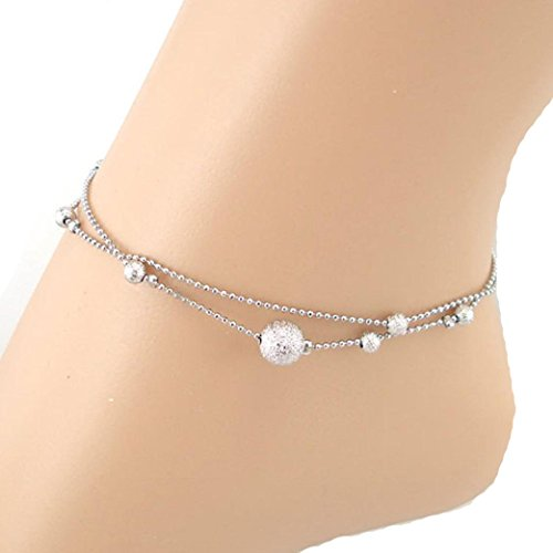 VIASA Frosted Double Chain Large Ball Anklet Bracelets Sandal