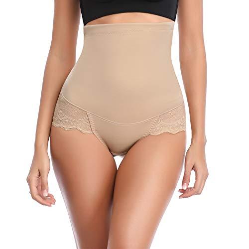 WOWENY High Waist Tummy Control Body Shaper for Women Butt Lift Seamless Slimming Waist Shapewear (Beige, Large) (Tummy Lift)